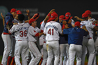 Members of the Greenville Drive celebrate a win in Game 3 of the South Atlantic League Southern Division Playoff against the Charleston RiverDogs on Saturday, September 9, 2017, at Fluor Field at the West End in Greenville, South Carolina. Greenville won, 5-0, winning the division championship two games to one. (Tom Priddy/Four Seam Images)