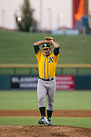 AZL Athletics starting pitcher Daniel Mengden (47) delivers a warmup pitch during a game against the AZL Cubs on August 9, 2017 at Sloan Park in Mesa, Arizona. AZL Athletics defeated the AZL Cubs 7-2. (Zachary Lucy/Four Seam Images)