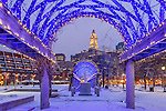 A dusting of snow in Waterfront Park, Boston, Massachusetts, USA