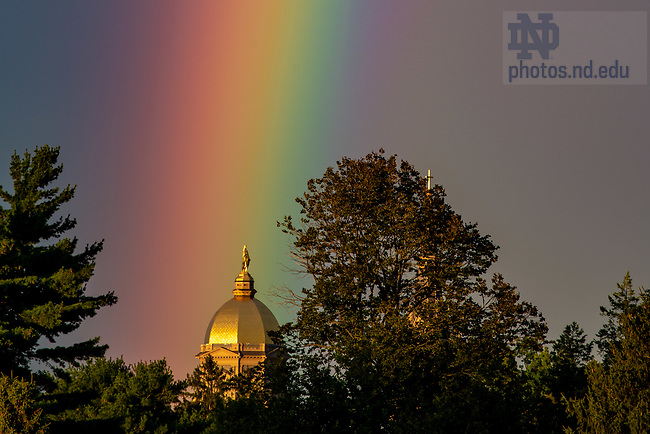 September 9, 2018; Rainbow over the Golden Dome (Photo by Matt Cashore/University of Notre Dame)