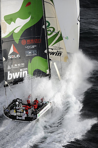 The old dog for the long road – the 2008 Irish Volvo World race entry Green Dragon – seen here at 30 knots – is currently vying for line honours in the RORC Transatlantic Race from the Canaries to Grenada.