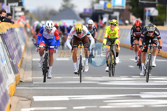 Olympic Champion Greg Van Avermaet (BEL) AG2R Citroën Team crosses the finish line at the end of the 2021 Brabantse Pijl running 201.7km from Leuven to Overijse, Belgium. 14th April 2021.  <br />