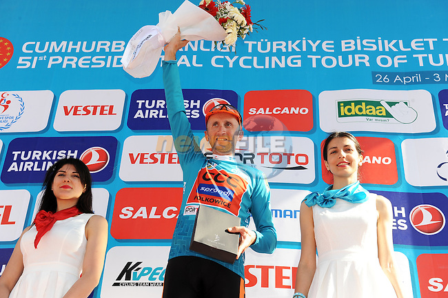 Davide Rebellin (ITA) CCC Sprandi Polkowice retains the overall race lead at the end of Stage 4 of the 2015 Presidential Tour of Turkey running 132km from Fethiye to Marmaris. 29th April 2015.<br /> Photo: Tour of Turkey/Mario Stiehl/www.newsfile.ie