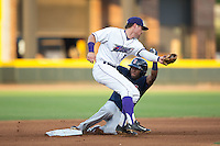 Manuel Margot (2) of the Salem Red Sox steals second base as Jake Peter (3) fields the throw in front of the bag at BB&T Ballpark on June 18, 2015 in Winston-Salem, North Carolina.  The Red Sox defeated the Dash 8-2.  (Brian Westerholt/Four Seam Images)