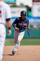 Scranton/Wilkes-Barre RailRiders shortstop Gleyber Torres (7) running the bases during a game against the Rochester Red Wings on June 7, 2017 at Frontier Field in Rochester, New York.  Scranton defeated Rochester 5-1.  (Mike Janes/Four Seam Images)