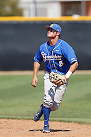 Woody Woodward #5 of the UC Santa Barbara Gauchos during a game against the Cal State Northridge Matadors at Matador Field on May 11, 2013 in Northridge, California. UC Santa Barbara defeated Cal State Northridge, 6-2. (Larry Goren/Four Seam Images)