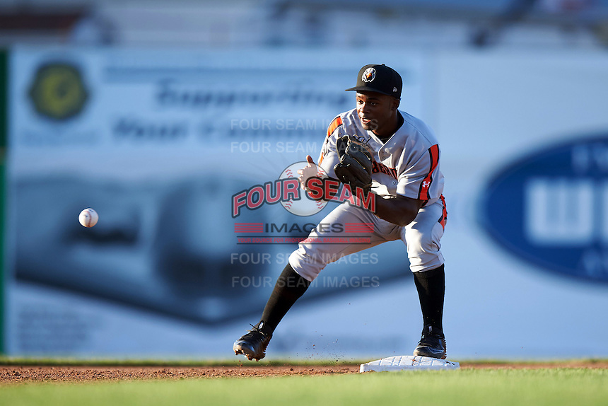 Aberdeen Ironbirds second baseman Kirvin Moesquit (10) waits for a throw during a game against the Batavia Muckdogs on July 14, 2016 at Dwyer Stadium in Batavia, New York.  Aberdeen defeated Batavia 8-2. (Mike Janes/Four Seam Images)