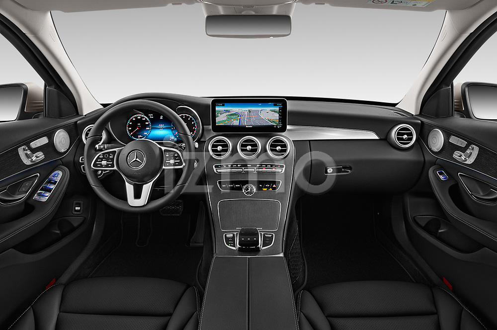Stock photo of straight dashboard view of a 2019 Mercedes Benz C Class Business Solution 4 Door Sedan