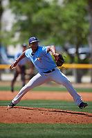Tampa Bay Rays pitcher Cristofer Ogando (13) during a Minor League Spring Training game against the Boston Red Sox on March 25, 2019 at the Charlotte County Sports Complex in Port Charlotte, Florida.  (Mike Janes/Four Seam Images)