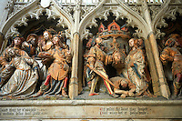 Gothic sculptures depicting the arrival in Amiens (1206) of a relic of John The Baptist from Constantinople brought by Richard de Gerberoy, and the beheading of John. Cathedral of Notre-Dame, Amiens, France.