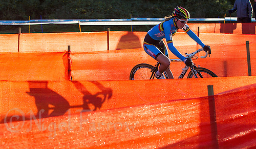 03 NOV 2012 - IPSWICH, GBR - Sanne Cant (BEL) of Belgium makes her way through a zig-zag section of the course marked with orange scrim during the Elite Women's European Cyclo-Cross Championships in Chantry Park, Ipswich, Suffolk, Great Britain (PHOTO (C) 2012 NIGEL FARROW)