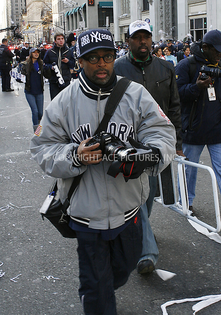 WWW.ACEPIXS.COM . . . . .  ....November 6 2009, New York City....Film Maker Spike Lee at the New York Yankees world series victory parade on November 6 2009 in New York City....Please byline: NANCY RIVERA- ACE PICTURES.... *** ***..Ace Pictures, Inc:  ..tel: (212) 243 8787 or (646) 769 0430..e-mail: info@acepixs.com..web: http://www.acepixs.com