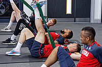 (L-R) Sam Clucas, Kyle Bartley, Connor Roberts and Jordan Ayew exercise in the gym during the Swansea City Training at The Fairwood Training Ground, Swansea, Wales, UK. Thursday 19 April 2018