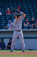 Salt River Rafters center fielder Braxton Lee (12), of the Miami Marlins organization, at bat during an Arizona Fall League game against the Mesa Solar Sox on October 18, 2017 at Sloan Park in Mesa, Arizona. The Rafters defeated the Solar Sox 6-5. (Zachary Lucy/Four Seam Images)