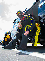 Jul 12, 2020; Clermont, Indiana, USA; NHRA funny car driver J.R. Todd during the E3 Spark Plugs Nationals at Lucas Oil Raceway. This is the first race back for NHRA since the start of the COVID-19 global pandemic. Mandatory Credit: Mark J. Rebilas-USA TODAY Sports