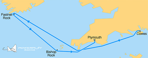PowerPlay rounded the famous Fastnet Lighthouse off the coast of County Cork on Monday night.  The historic 595nm course starts from Cowes IOW, around Lands' End, across the Celtic Sea, around the Fastnet Lighthouse off the coast of Ireland, and finishing at the Plymouth Breakwater.