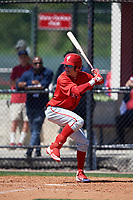 Philadelphia Phillies Simon Muzziotti (31) during a Minor League Spring Training game against the Pittsburgh Pirates on March 23, 2018 at the Carpenter Complex in Clearwater, Florida.  (Mike Janes/Four Seam Images)