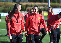 20200307  Parchal , Portugal : Belgian Tine De Caigny (6) pictured with Belgian Laura De Neve (18) during the female football game between the national teams of Belgium called the Red Flames and Portugal on the second matchday of the Algarve Cup 2020 , a prestigious friendly womensoccer tournament in Portugal , on saturday 7 th March 2020 in Parchal , Portugal . PHOTO SPORTPIX.BE | DAVID CATRY