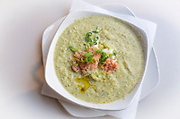 South Africa, Franschhoek.  Broccoli-mushroom Soup with Salmon and Cream.