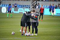 SAN JOSE, CA - MAY 1: San Jose Earthquakes goalkeepers huddle before a game between D.C. United and San Jose Earthquakes at PayPal Park on May 1, 2021 in San Jose, California.