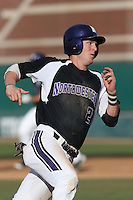 Reid Hunter #27 of the Northwestern Wildcats during a game against the USC Trojans at Dedeaux Field on  February 16, 2014 in Los Angeles, California. USC defeated Northwestern, 13-6. (Larry Goren/Four Seam Images)