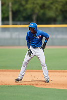 GCL Blue Jays shortstop Luis De Los Santos (1) leads off first base during the first game of a doubleheader against the GCL Yankees East on July 24, 2017 at the Yankees Minor League Complex in Tampa, Florida.  GCL Blue Jays defeated the GCL Yankees East 6-3 in a game that originally started on July 8th.  (Mike Janes/Four Seam Images)