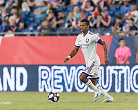 FOXBOROUGH, MA - JULY 28: Nani #17 dribbles during a game between Orlando City SC and New England Revolution at Gillette Stadium on July 27, 2019 in Foxborough, Massachusetts.