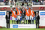Equestrian - Showjumping - Meydan FEI Nations Cup.The winning Netherland team in the Meydan FEI Nations Cup at the Royal Dublin Society (RDS) in Dublin.