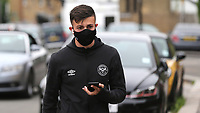 Halil Dervisoglu of Brentford arrives at the ground wearing his face mask during Brentford vs Charlton Athletic, Sky Bet EFL Championship Football at Griffin Park on 7th July 2020