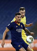 Football, Serie A: AS Roma - Hellas Verona Fc, Olympic stadium, Rome, July 15, 2020. <br /> Roma's Lorenzo Pellegrini (in front of) in action with Verona's Alan Empereur during the Italian Serie A football match between Roma and Hellas Verona at Rome's Olympic stadium, on July 15, 2020. <br /> UPDATE IMAGES PRESS/Isabella Bonotto