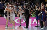 Caja Laboral Baskonia's Fernando San Emeterio, Marcelinho Huertas and Brad Oleson celebartes the winner basket during ACB Finals match in presence of Xavi Pascual, Jordi Trias and Juan Carlos Navarro. June 15,2010. (ALTERPHOTOS/Acero)