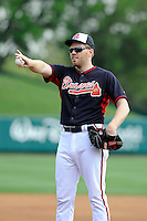 First baseman Freddie Freeman (5) of the Atlanta Braves gestures before a Spring Training game against the New York Yankees on Wednesday, March 18, 2015, at Champion Stadium at the ESPN Wide World of Sports Complex in Lake Buena Vista, Florida. The Yankees won, 12-5. (Tom Priddy/Four Seam Images)