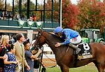 October 23, 2021: In a battle to the finish Caramel Swirl #8 ridden by jockey Junior Alvarado gets the bob over Joy's Rocket #2 ridden by jockey Julien Leparoux to win the Raven Run (Grade 2)  Keeneland Racecourse in Lexington, KY on October 23, 2021.  Candice Chavez/ESW/CSM