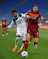 Football, Serie A: AS Roma - Atalanta Olympic stadium, Rome, April 22, 2021. <br /> Roma's Edin Dzeko (r) in action with Atalanta's Jose Luis Palomino (l) during the Italian Serie A football match between AS Roma and Atalanta at Rome's Olympic stadium, Rome, on April 22, 2021.  <br /> UPDATE IMAGES PRESS/Isabella Bonotto