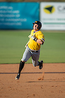 Jordan Luplow (16) of the West Virginia Power hustles towards third base against the Kannapolis Intimidators at CMC-Northeast Stadium on April 21, 2015 in Kannapolis, North Carolina.  The Power defeated the Intimidators 5-3 in game one of a double-header.  (Brian Westerholt/Four Seam Images)