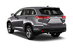 Car pictures of rear three quarter view of 2018 Toyota Highlander LE-Plus 5 Door SUV Angular Rear