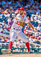 9 July 2017: Washington Nationals pitcher Matt Grace on the mound against the Atlanta Braves at Nationals Park in Washington, DC. The Nationals defeated the Atlanta Braves to split their 4-game series going into the All-Star break. Mandatory Credit: Ed Wolfstein Photo *** RAW (NEF) Image File Available ***