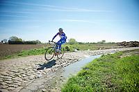 James Vanlandschoot (BEL/Wanty-GroupeGobert)<br /> <br /> 2014 Paris - Roubaix reconnaissance