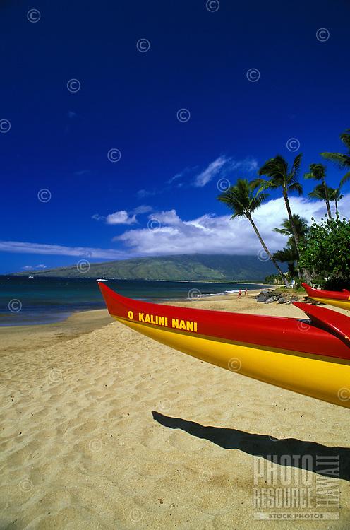 Canoe on the beach at Wailea, Maui.