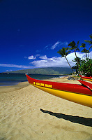 Canoe on the beach at Wailea, Maui.