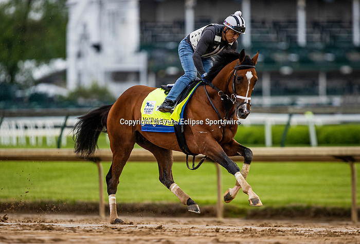 April 29, 2021: Mandalounl gallops in preparation for the Kentucky Derby at Churchill Downs in Louisville, Kentucky on April 29, 2021. EversEclipse Sportswire/CSM