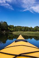 Kayak point of view of coastal waterway, Cape Cod, Massachusetts, USA