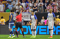 Houston, TX - Tuesday June 21, 2016: Enrique Caceres, Jermaine Jones during a Copa America Centenario semifinal match between United States (USA) and Argentina (ARG) at NRG Stadium.