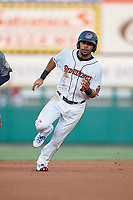 Rochester Red Wings right fielder LaMonte Wade (11) runs the bases during a game against the Lehigh Valley IronPigs on June 30, 2018 at Frontier Field in Rochester, New York.  Lehigh Valley defeated Rochester 6-2.  (Mike Janes/Four Seam Images)
