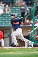 Scranton/Wilkes-Barre RailRiders designated hitter Donovan Solano (17) at bat during the first game of a doubleheader against the Rochester Red Wings on August 23, 2017 at Frontier Field in Rochester, New York.  Rochester defeated Scranton 5-4 in a game that was originally started on August 22nd but was was postponed due to inclement weather.  (Mike Janes/Four Seam Images)