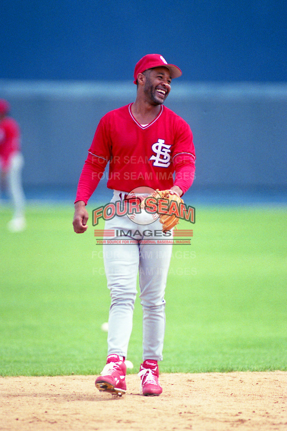 St. Louis Cardinals shortstop Ozzie Smith (1) during Spring Training 1993.  (MJA/Four Seam Images)