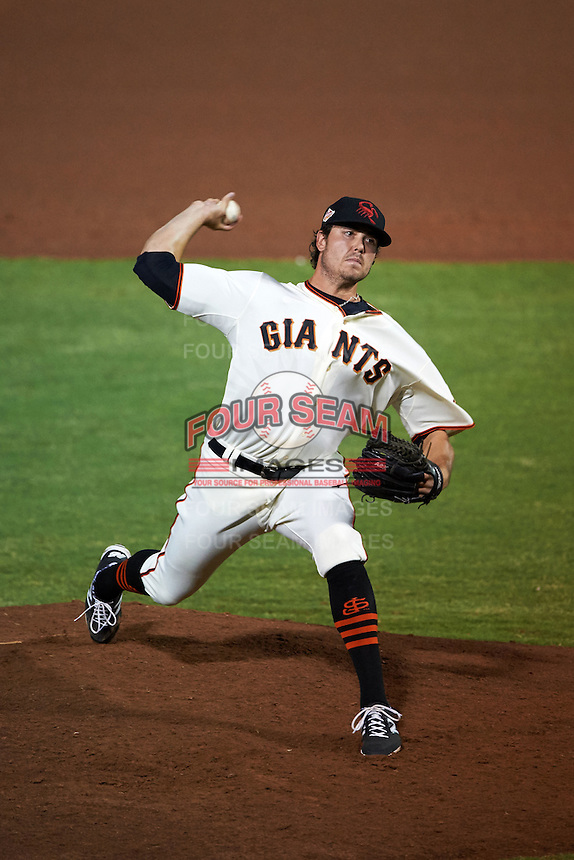 Scottsdale Scorpions pitcher Ray Black (53) delivers a pitch during an Arizona Fall League game against the Salt River Rafters on October 15, 2015 at Scottsdale Stadium in Scottsdale, Arizona.  Scottsdale defeated Salt River 13-3.  (Mike Janes/Four Seam Images)