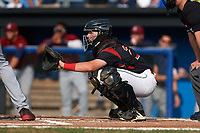 Batavia Muckdogs catcher Jared Barnes (26) awaits the pitch during the first game of a doubleheader against the Mahoning Valley Scrappers on August 28, 2017 at Dwyer Stadium in Batavia, New York.  Mahoning Valley defeated Batavia 6-3.  (Mike Janes/Four Seam Images)