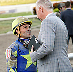 HALLANDALE BEACH, FL - Photo of Joel Rosario and Todd Pletcher taken January 20154 at Gulfstream Park in Hallandale Beach, FL. (Photo by Bob Aaron/Eclipse Sportswire/Getty Images)