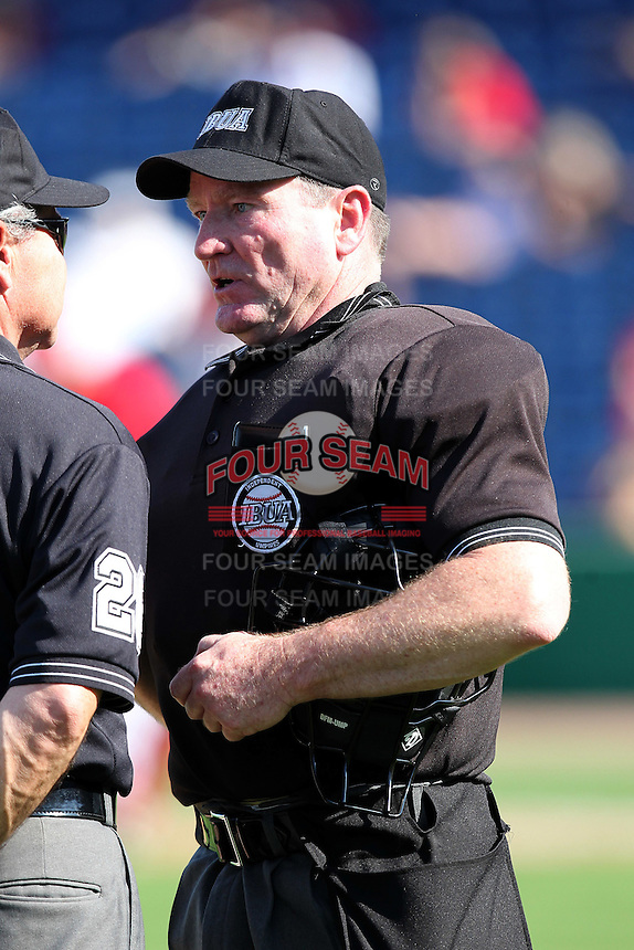 Home plate umpire Terry Spratt during a scrimmage between the Florida State Seminoles and Philadelphia Phillies at Brighthouse Field on February 29, 2012 in Clearwater, Florida.  Philadelphia defeated Florida State 6-1.  (Mike Janes/Four Seam Images)